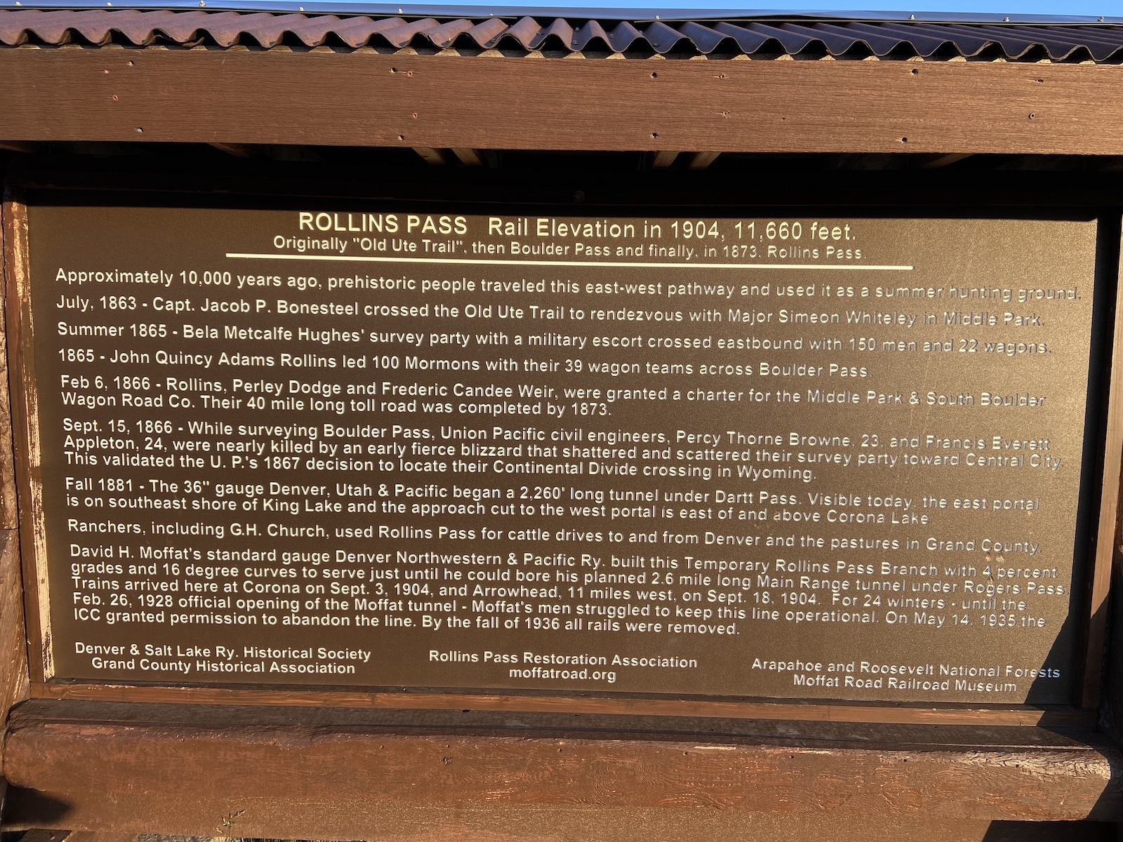 Rollins Pass History Sign