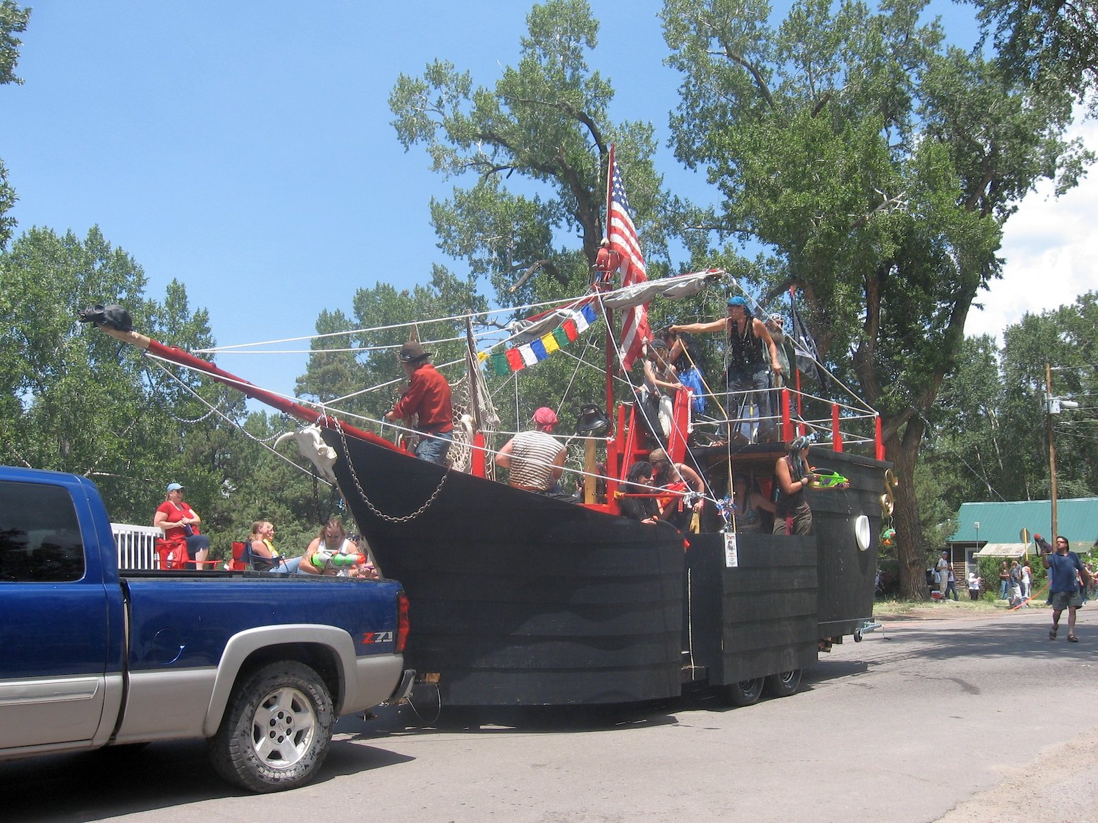 Image of a pirate ship at the Crestone fourth of July parade in Colorado