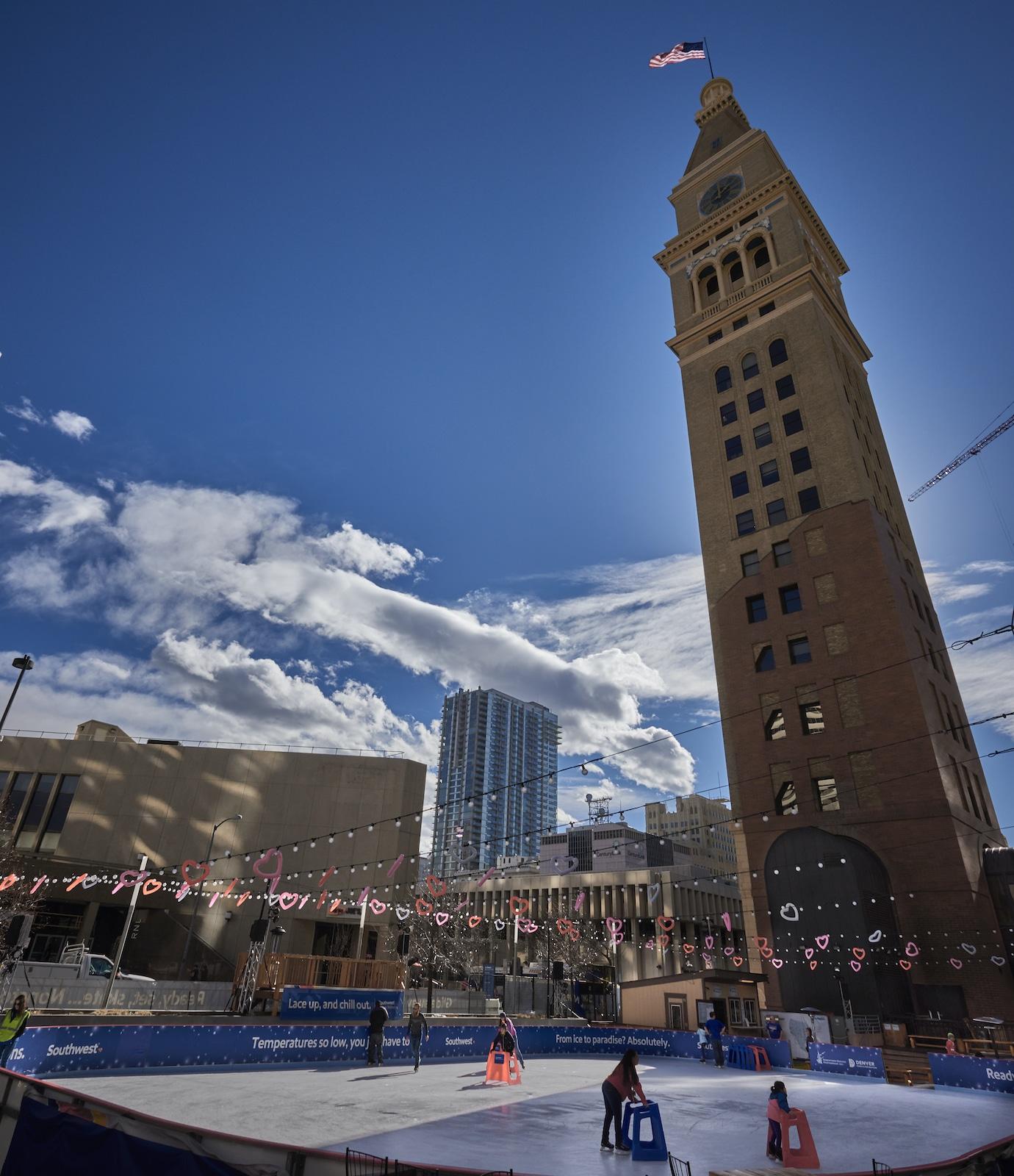 Downtown Denver Ice Rink Skyline Park Clocktower
