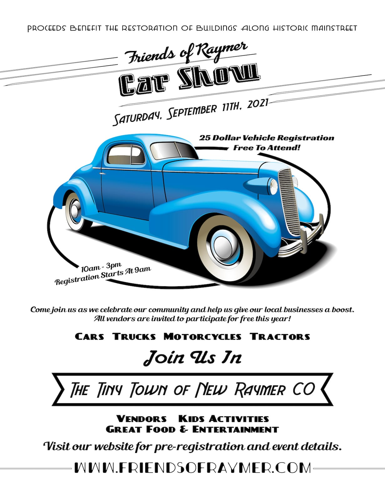 Image of the flyer for the 2021 Friends of Raymer Car Show in Colorado