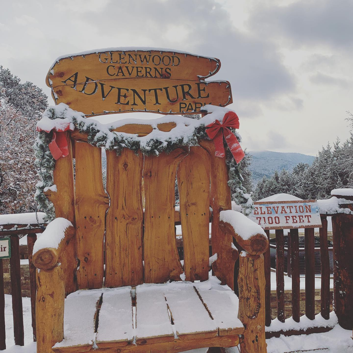 Image of a snow covered chair at Glenwood Caverns Adventure Park in Colorado
