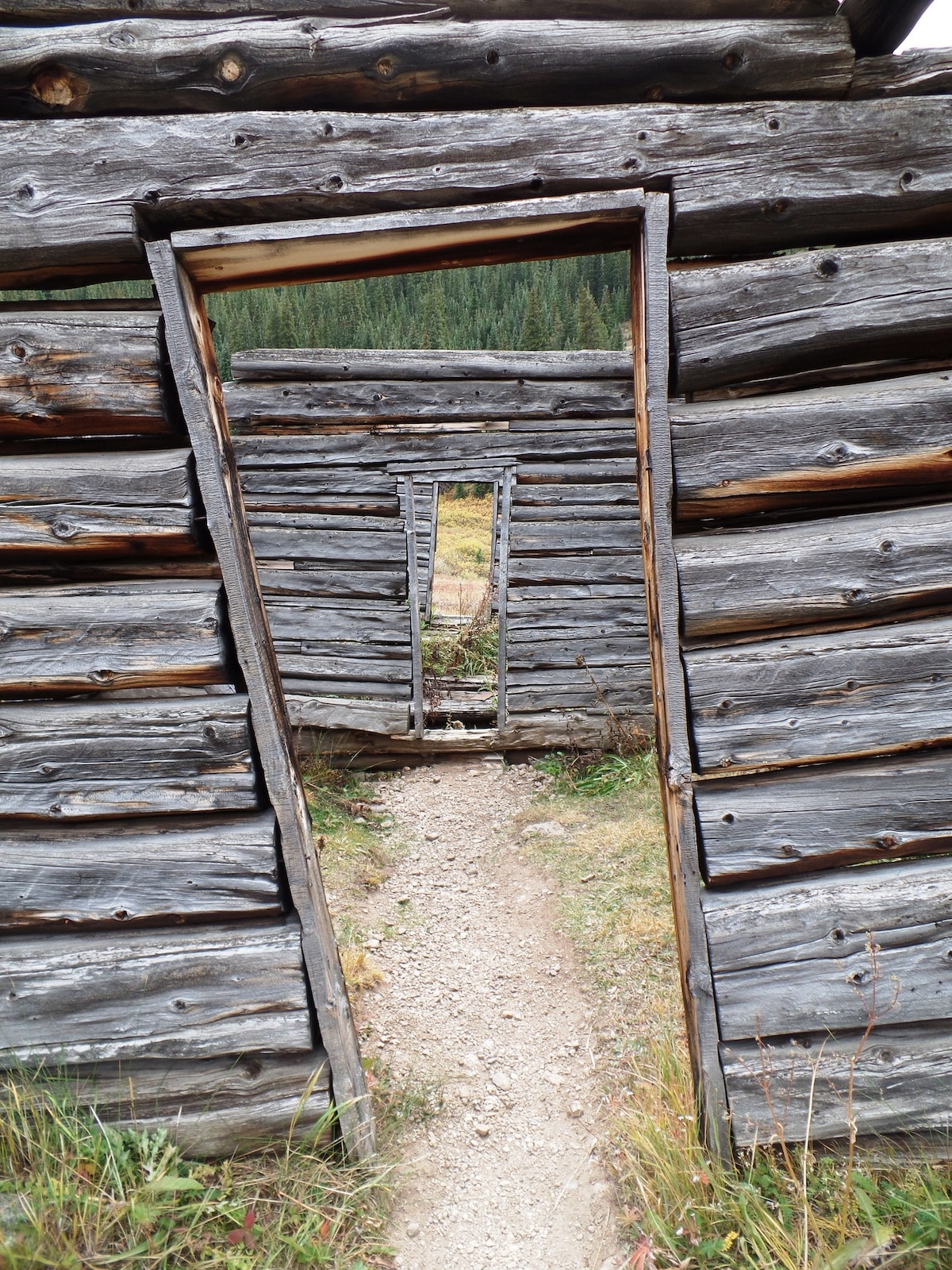 Independence Ghost Town near Aspen CO Looking through doors