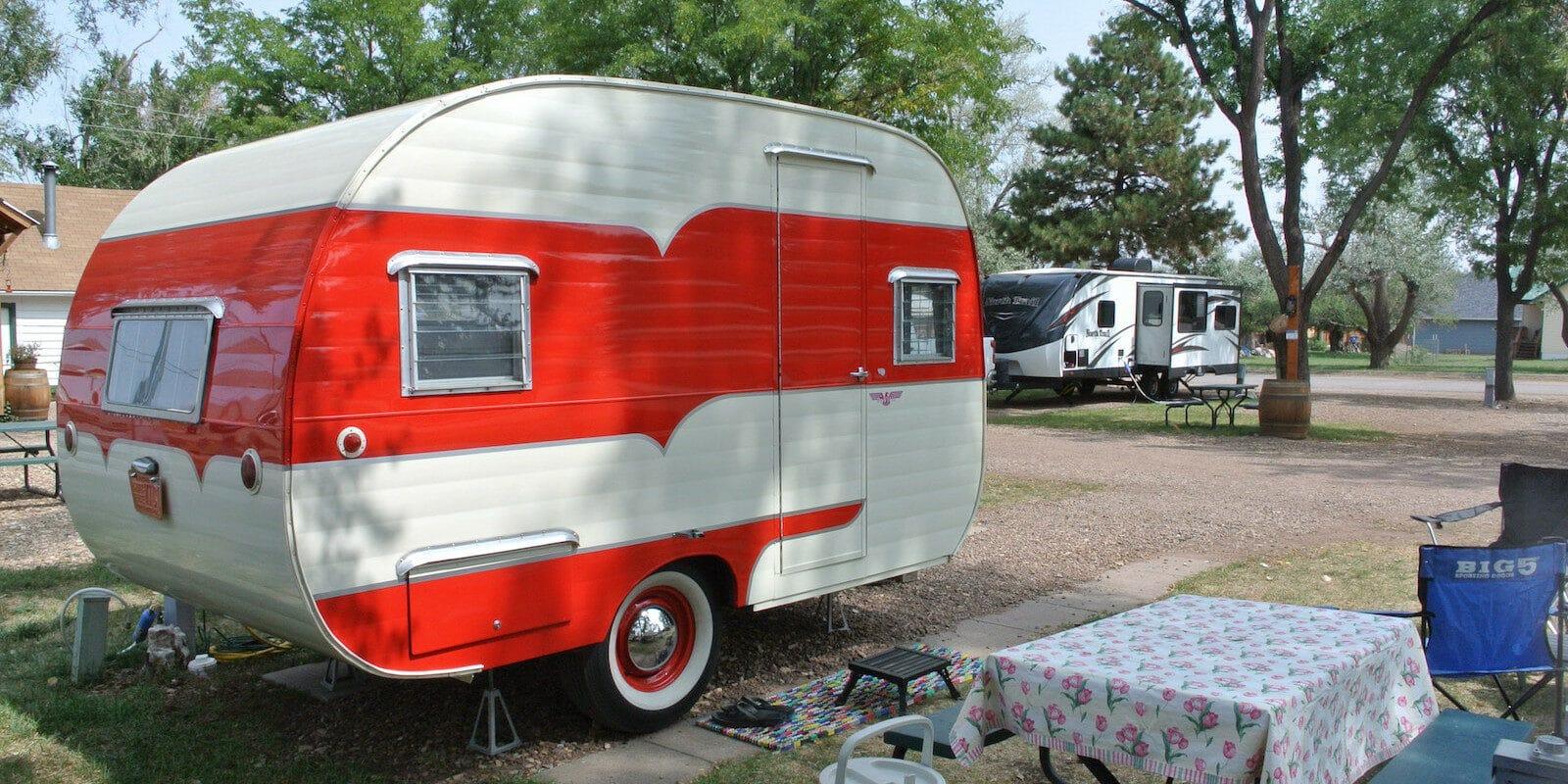 Image of a vintage red trailer