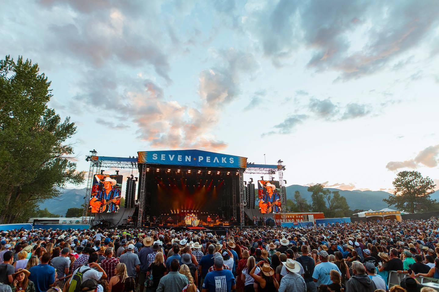 Image of the stage and crowd at the Seven Peaks Festival in Buena Vista, Colorado