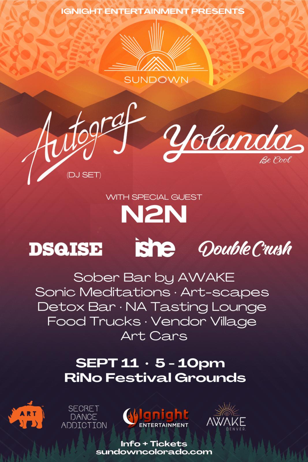 Image of the Sundown Colorado music event poster