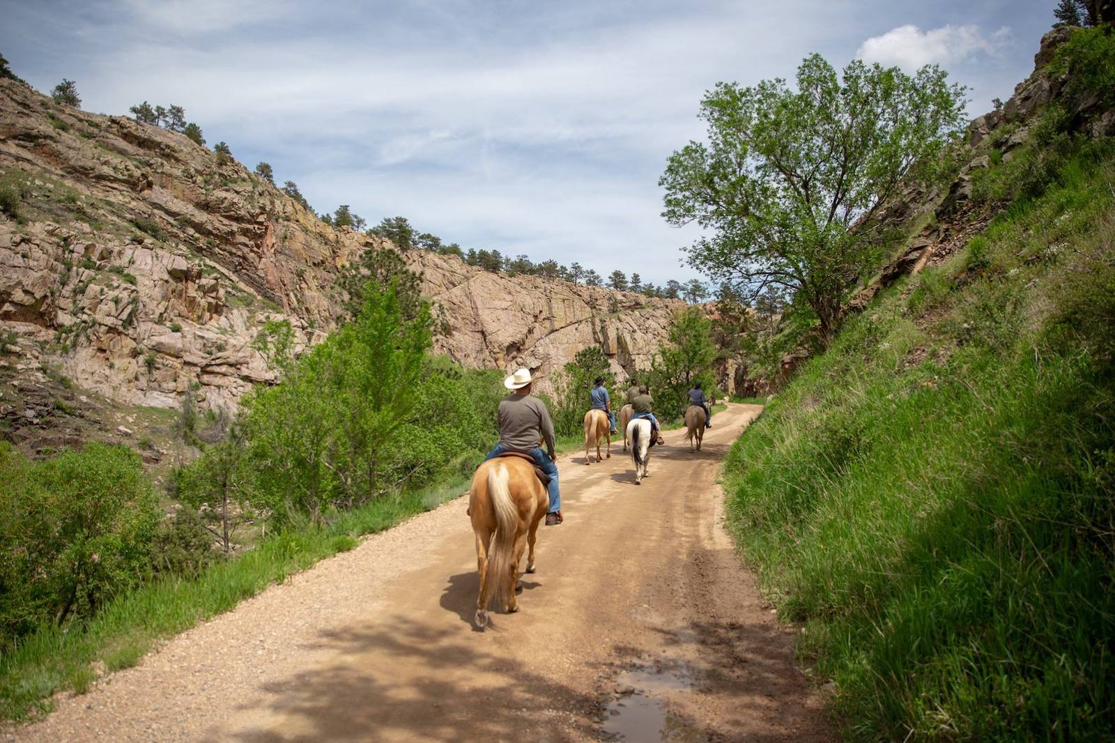 Image of people riding horses down a trail at Sylvan Dale Guest Ranch in Loveland, CO