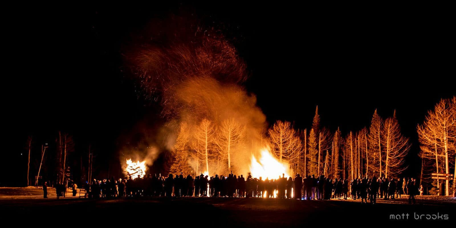 Image of people standing around a fire at the Telluride Fire Festival in Colorado