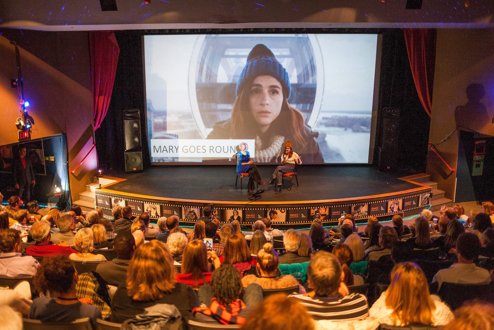 """Image of people on stage having a conversation about """"Mary Goes Round"""" at the Vail Film Festival"""