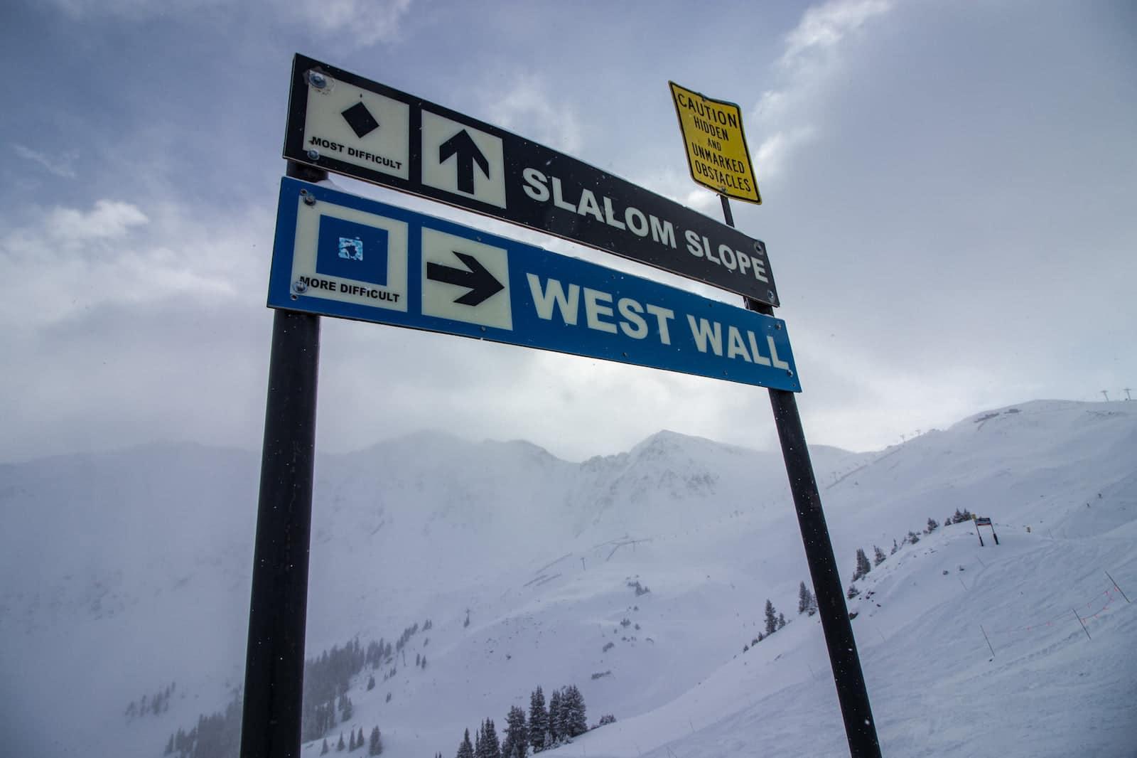 Image of signs at Arapaho Basin Ski Area in Colorado