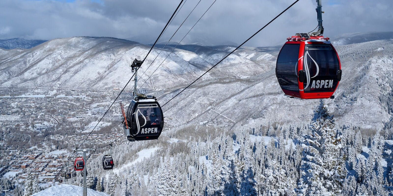 Image of the Silver Queen Gondola in Aspen during winter