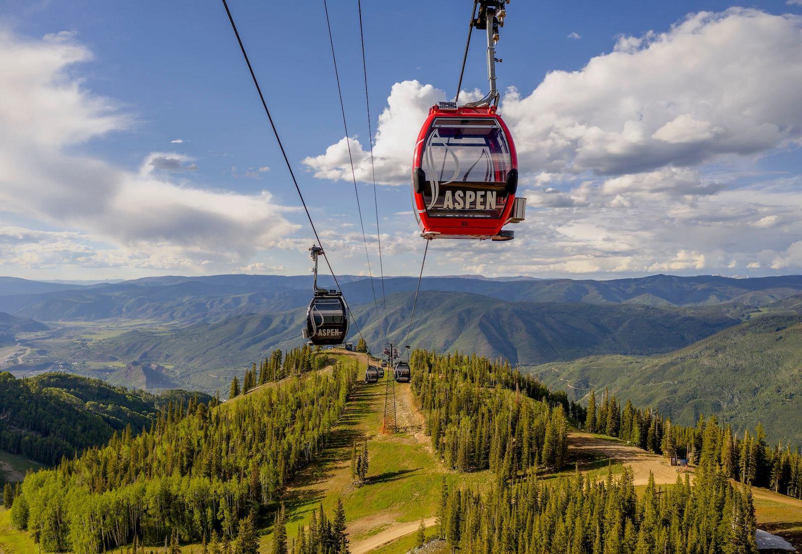 Image of the Silver Queen Gondola at Aspen Mountain, Colorado during the summer