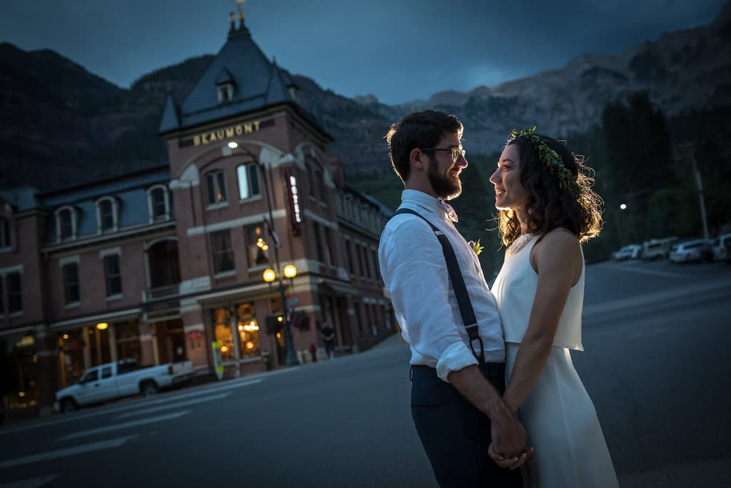 Image of a couple outside of the Beaumont Hotel & Spa in Ouray, Colorado