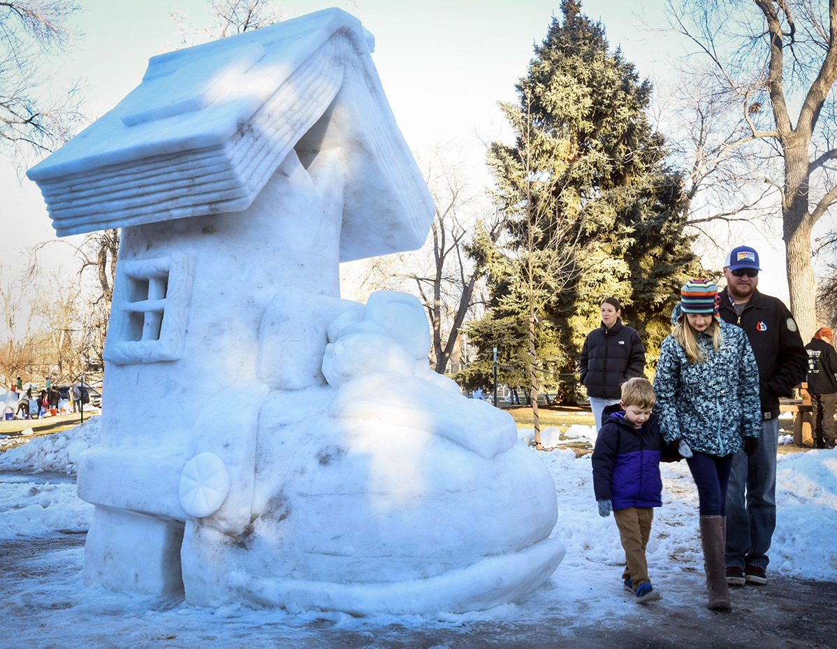 Image of a snow sculpture for SNOWFEST in Berthoud, Colorado