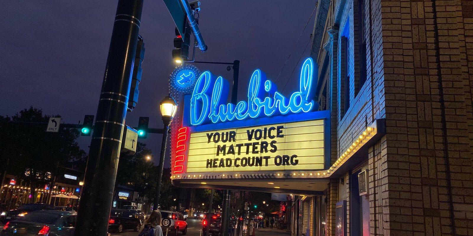 Image of Bluebird Theater's illuminated sign in Denver, Colorado