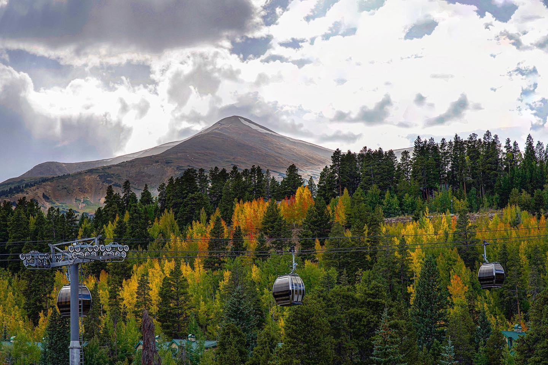 Image of the BreckConnect Gondola in Breckenridge, Colorado during the fall