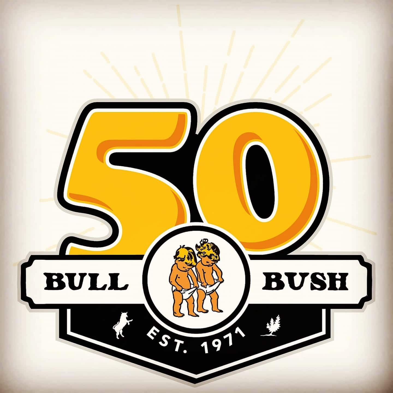 Image of the Bull & Bush Brewery 50 year anniversary logo