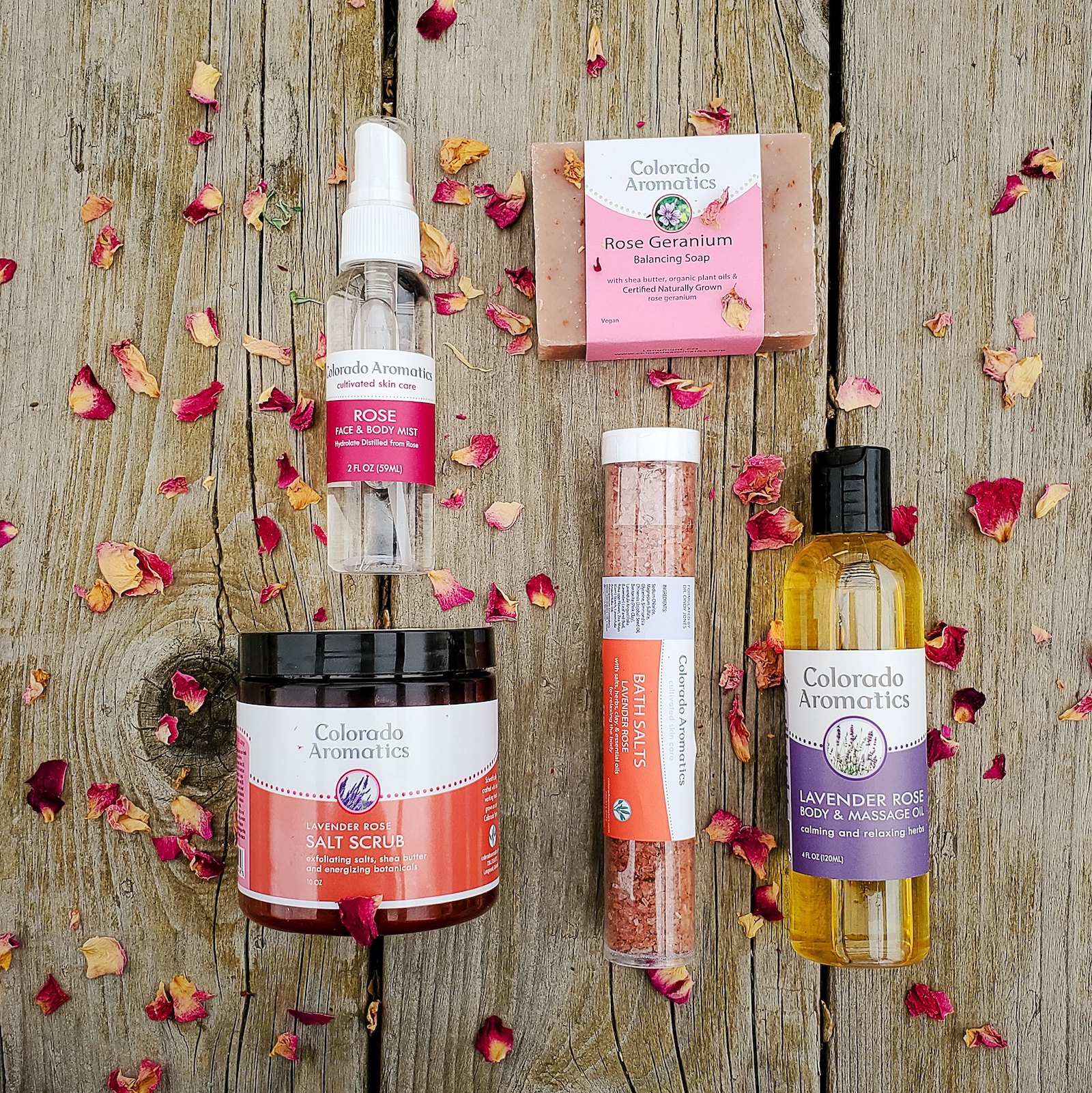 Image of products made with rose from Colorado Aromatics