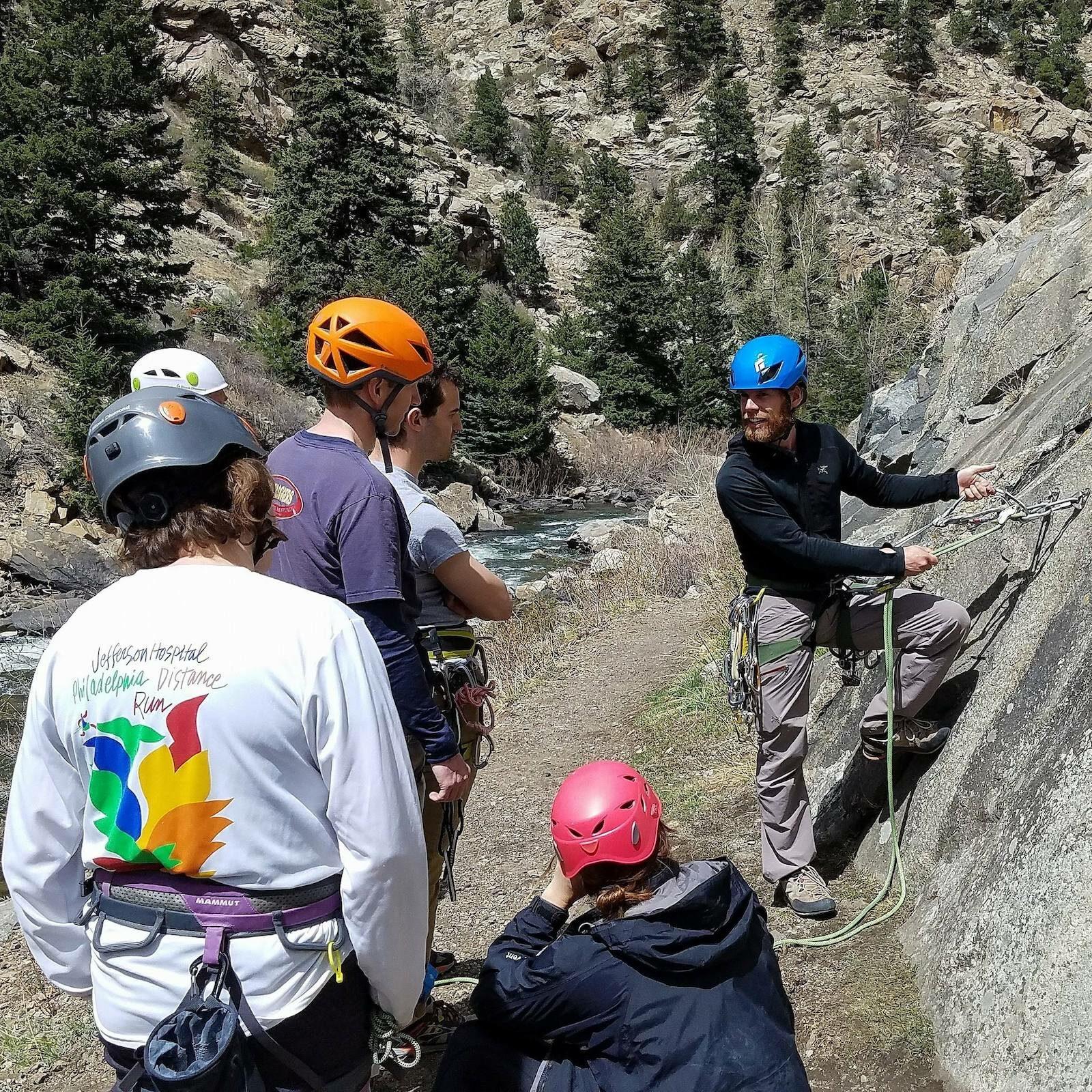 Image of a climbing class by the Colorado Climbing Company