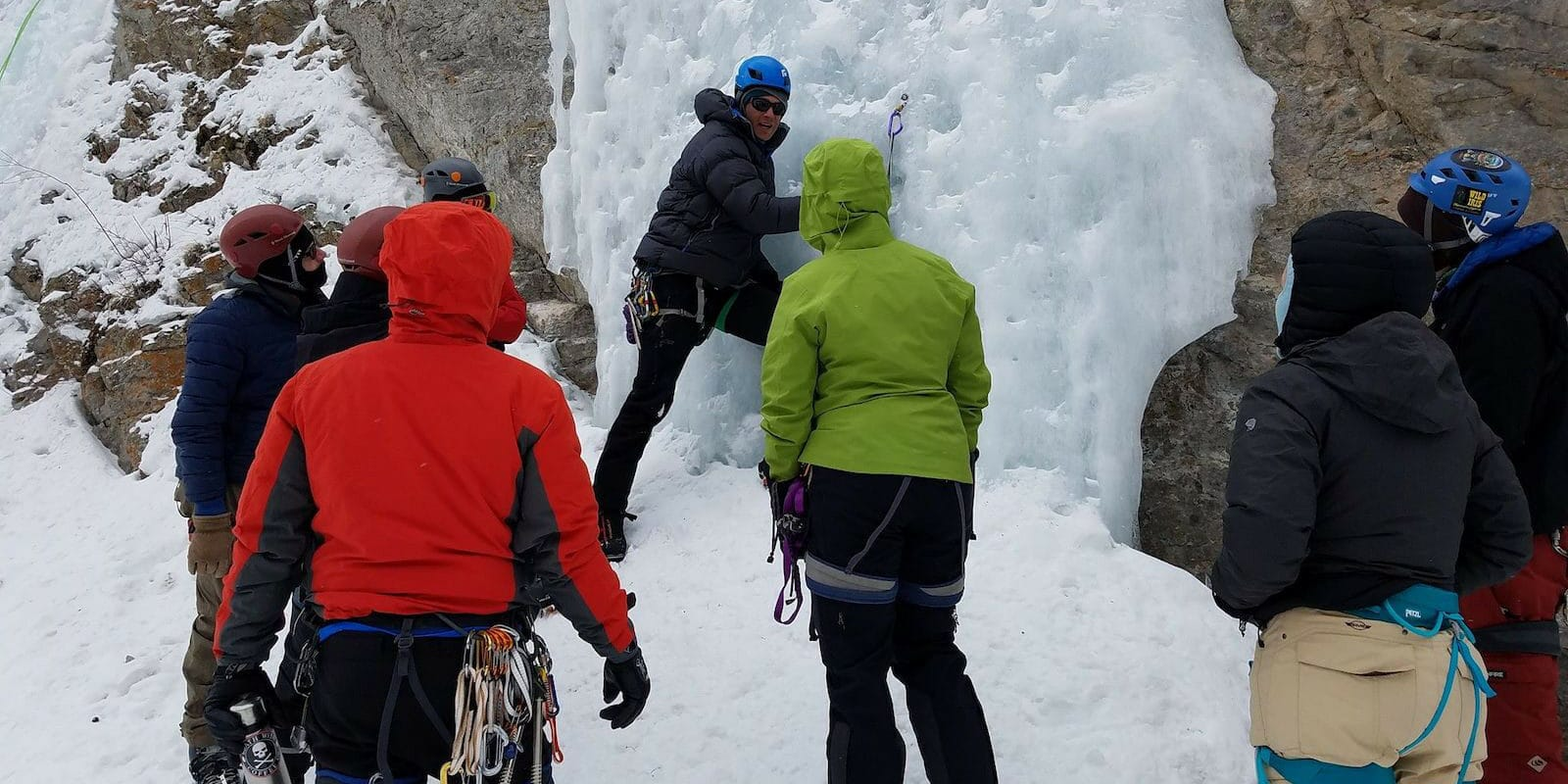 Image of people learning to ice climb with the Colorado Climbing Company