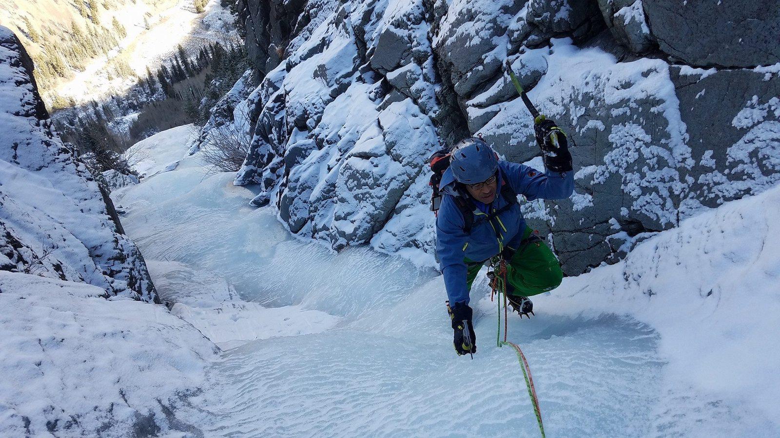 Image of a person ice climbing with the Colorado Climbing Company