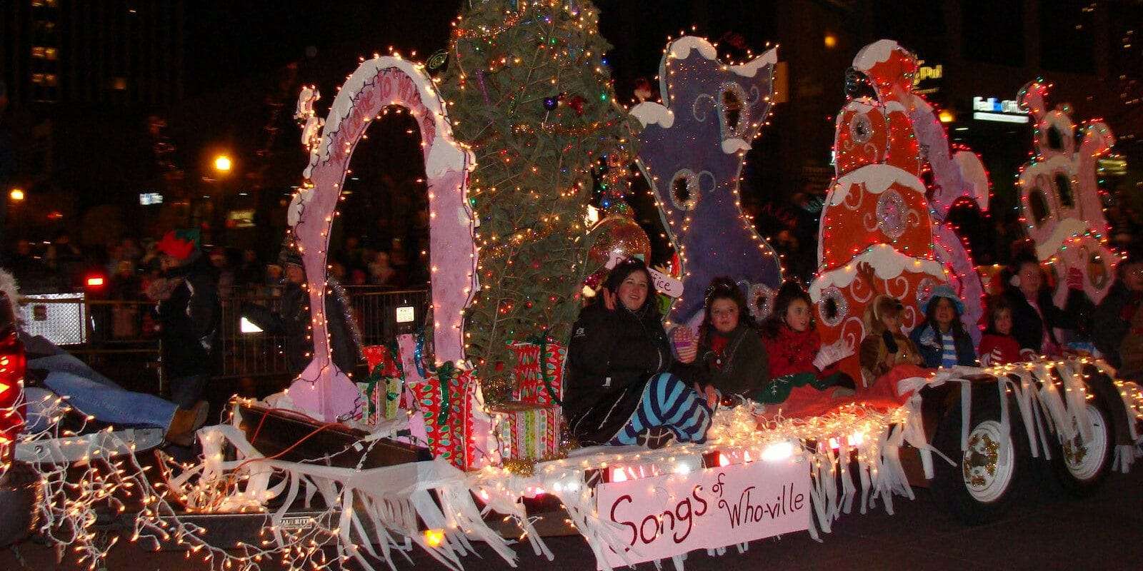 """Image of the """"Song of Whoville"""" float at the Festival of Lights in Colordo Springs, Colorado"""