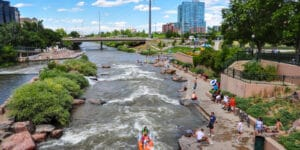 Confluence Park South Platte River Tubers and Kayaker Denver CO