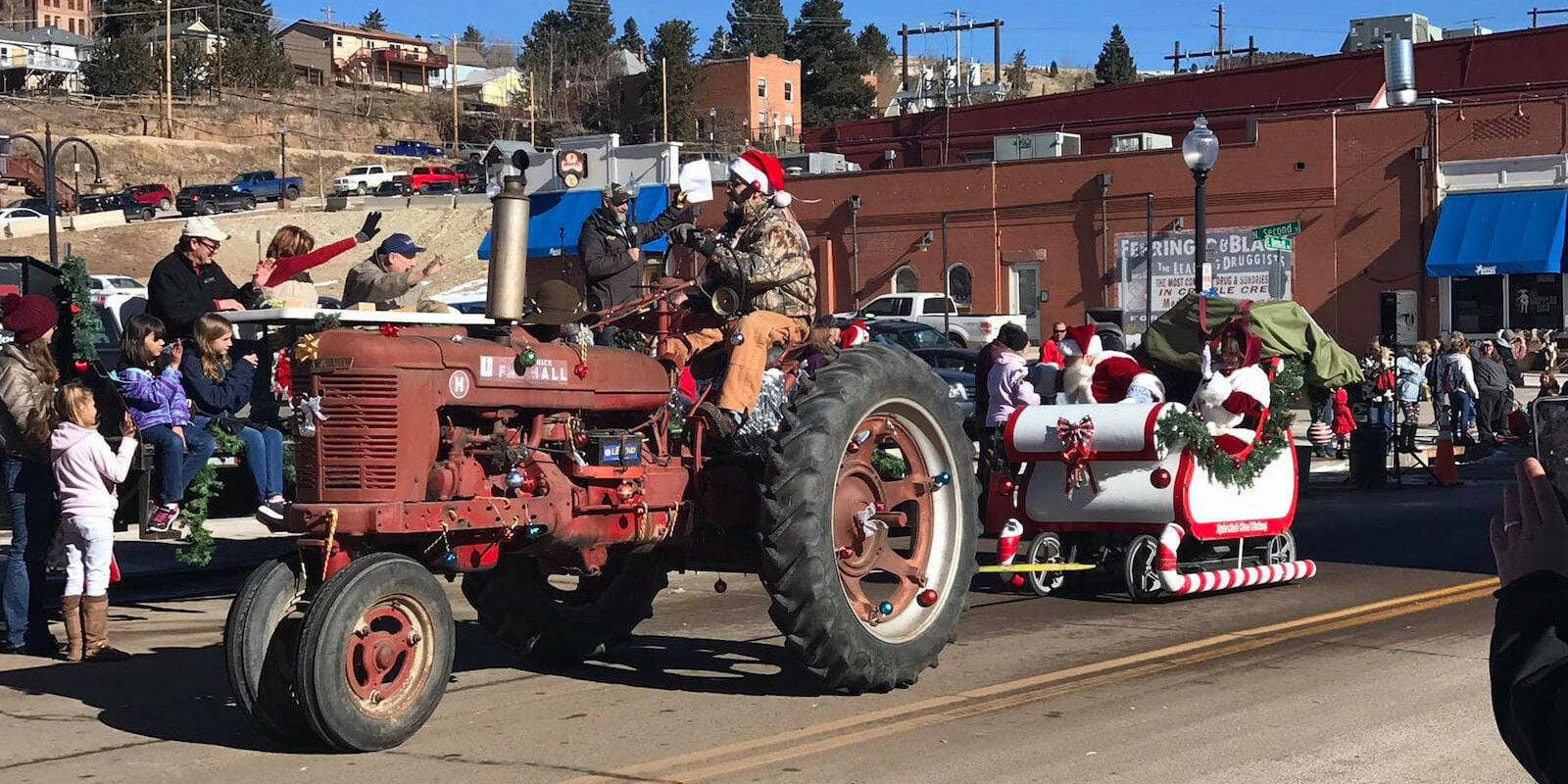Image of a tractor at the Gold Camp Christmas Weekend in Cripple Creek, Colorado
