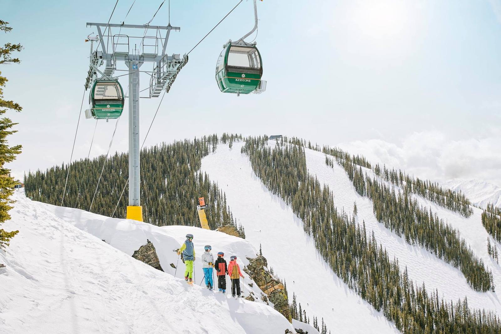 Image of the Outpost Gondola passing overs skiers and snowboarders at Keystone Resort in Colorado