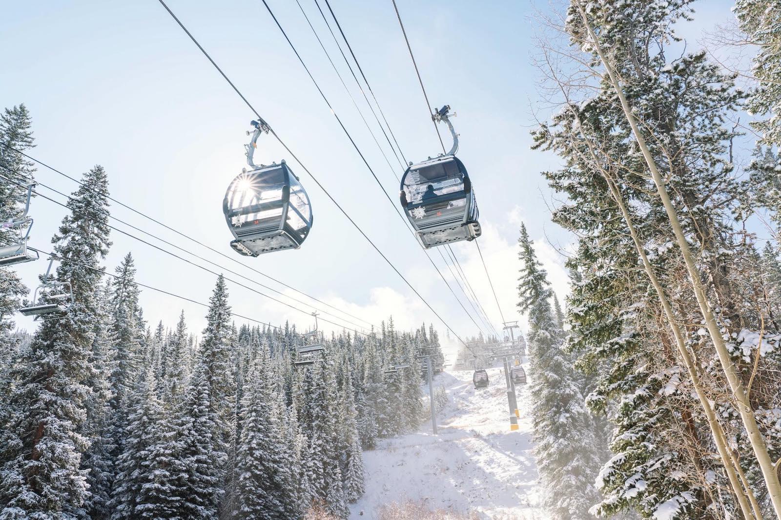 Image of two River Run Gondolas at Keystone Resort in Colorado during winter