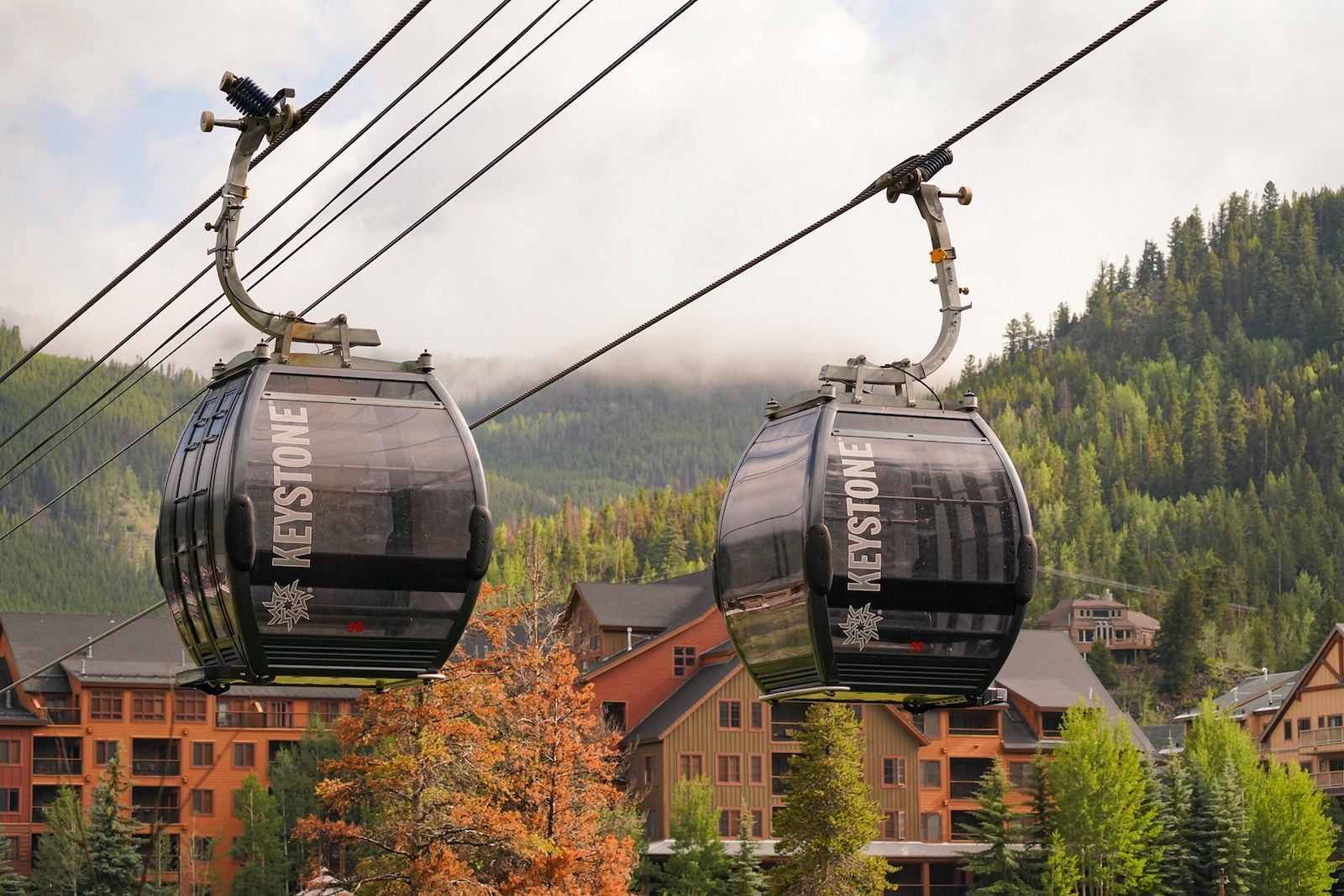 Image of two River Run Gondolas during the fall in Keystone, Colorado