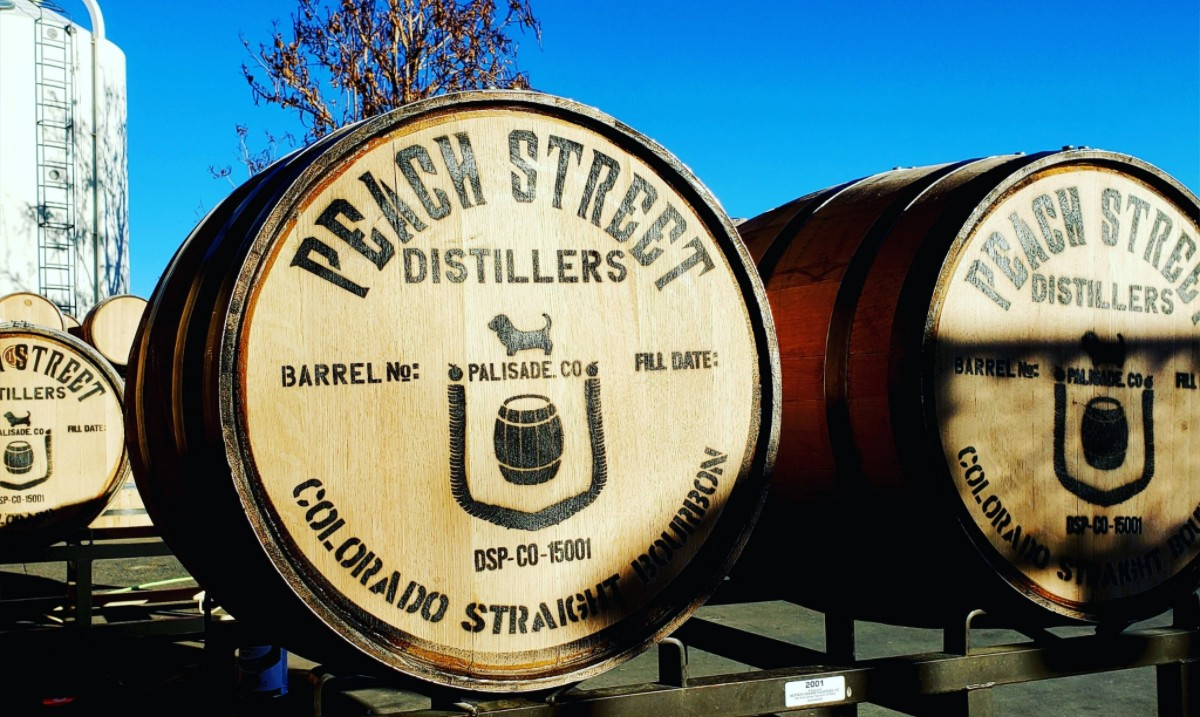 Image of the barrels at Peach Street Distillers in Palisade, Colorado