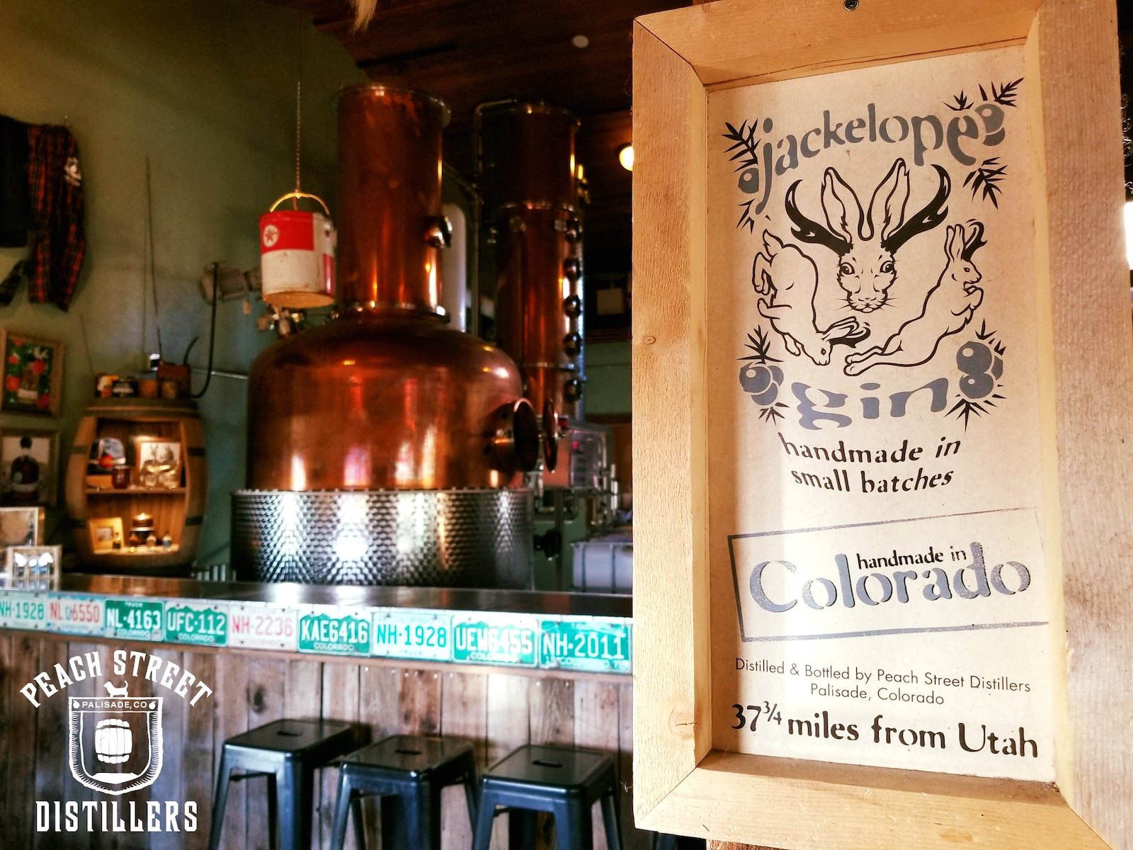 Image of a sign for the Jackelope spirit made at Peach Street Distillers