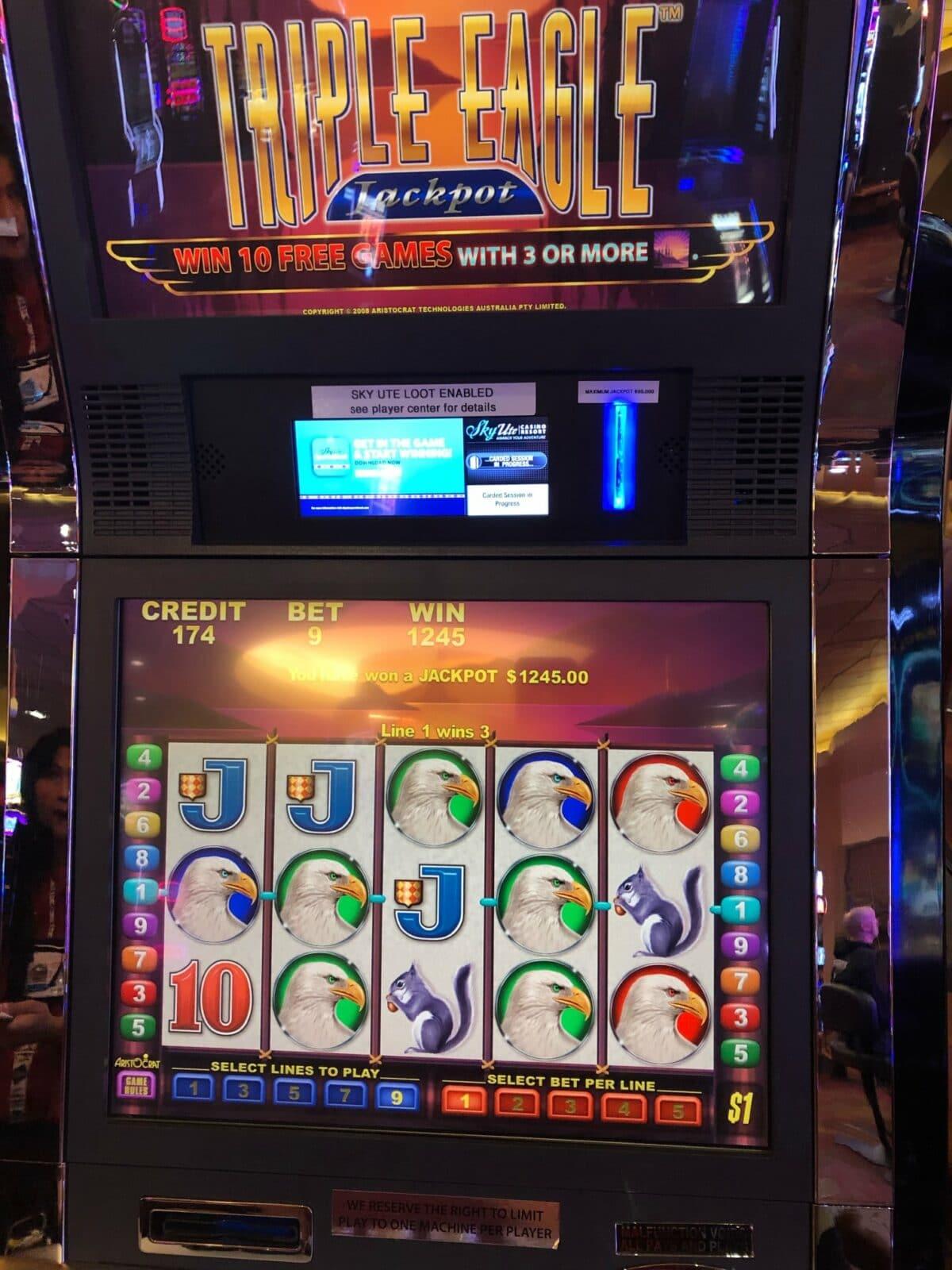 Image of a slot machine at Sky Ute Casino Resort in Ignacio, Colorado