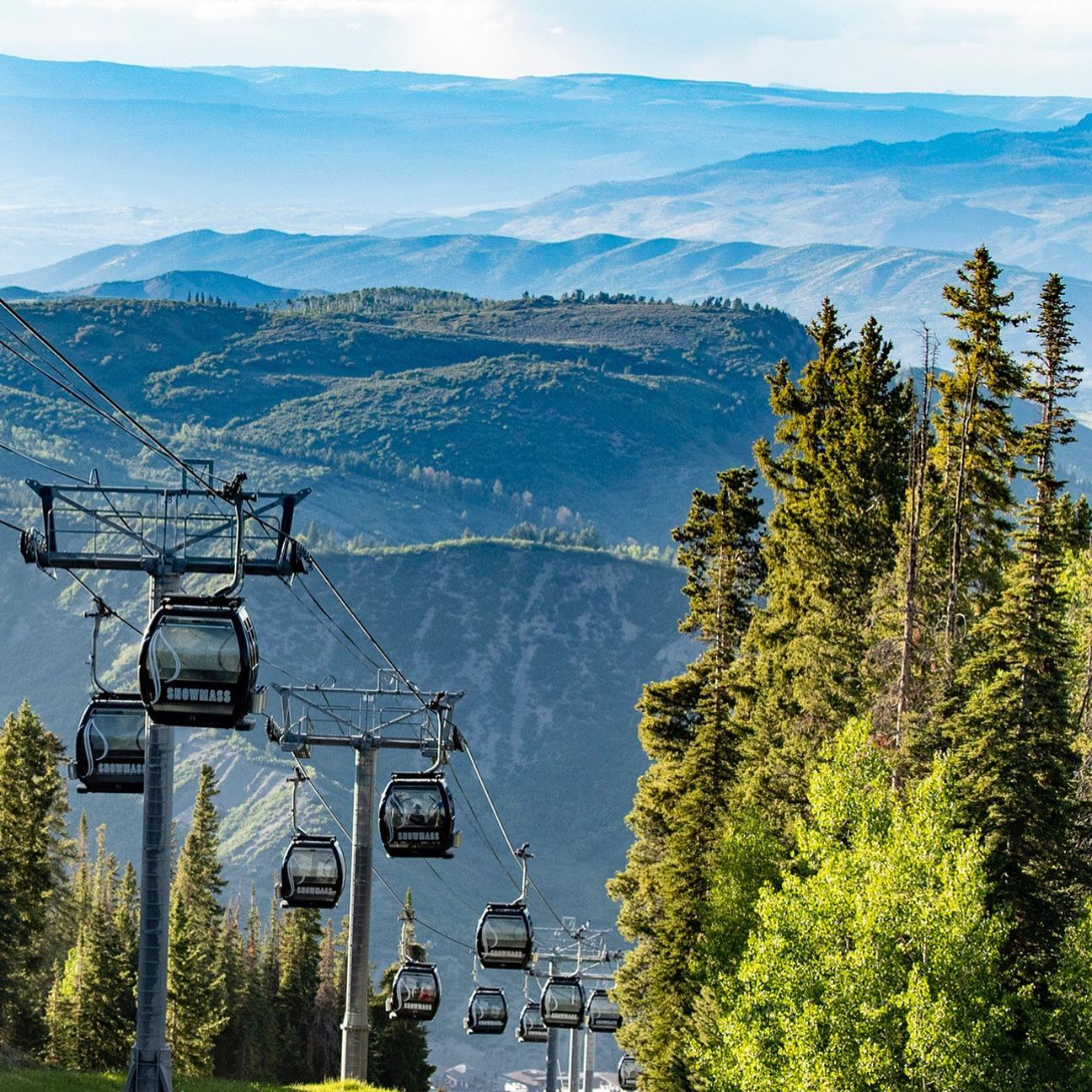 Image of the Elk Camp Gondola during the summer at Snowmass in Colorado