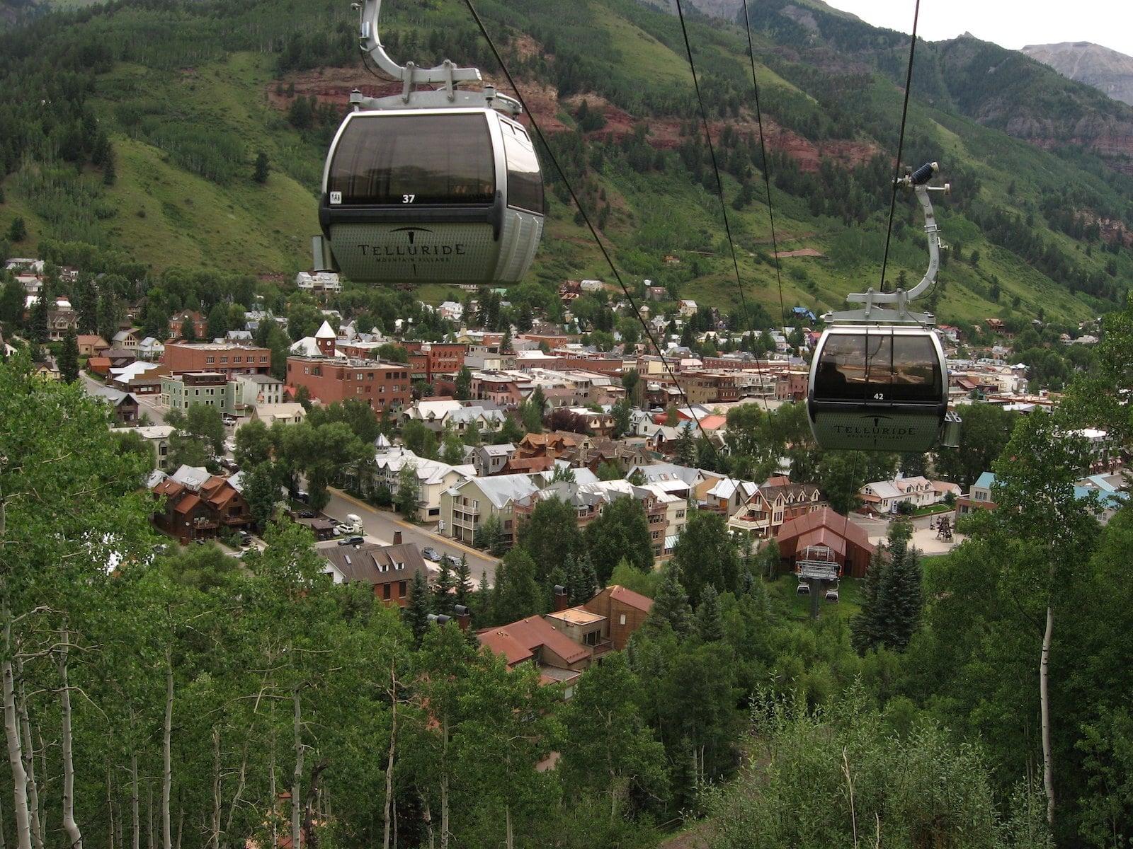Image of two free gondolas in Telluride, Colorado