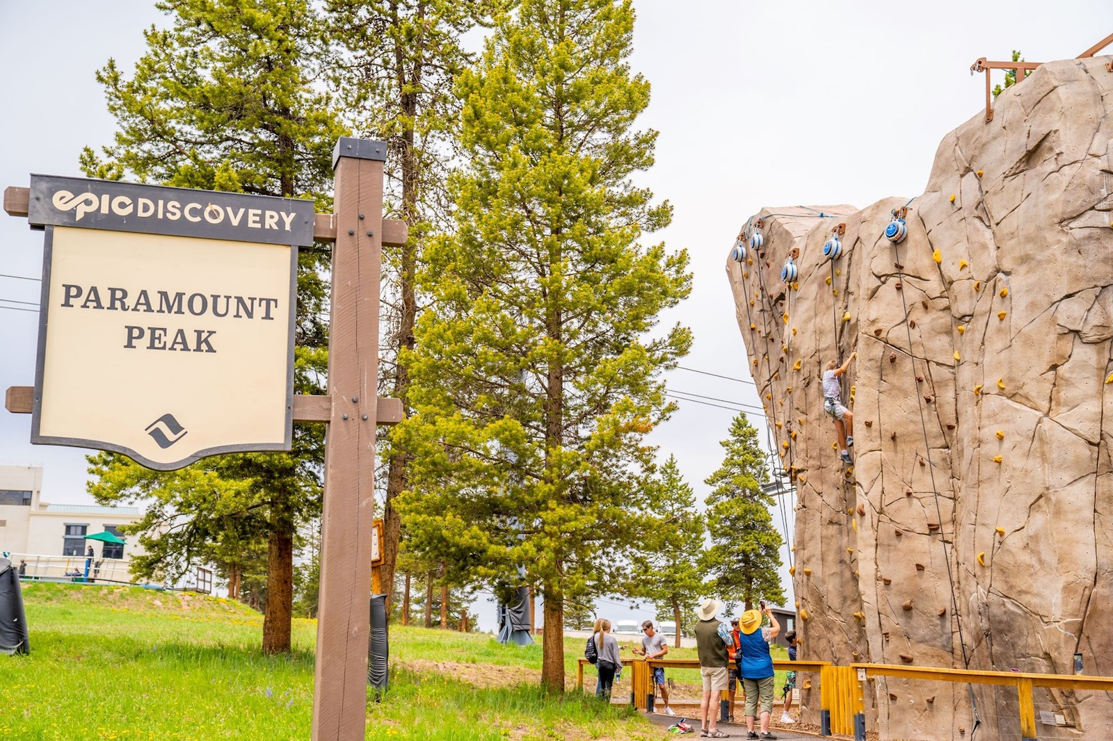 Image of the Paramount Peak climbing wall at Epic Discovery in Vail, Colorado