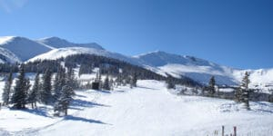 Image of a panoramic view of a snow covered Breckenridge.