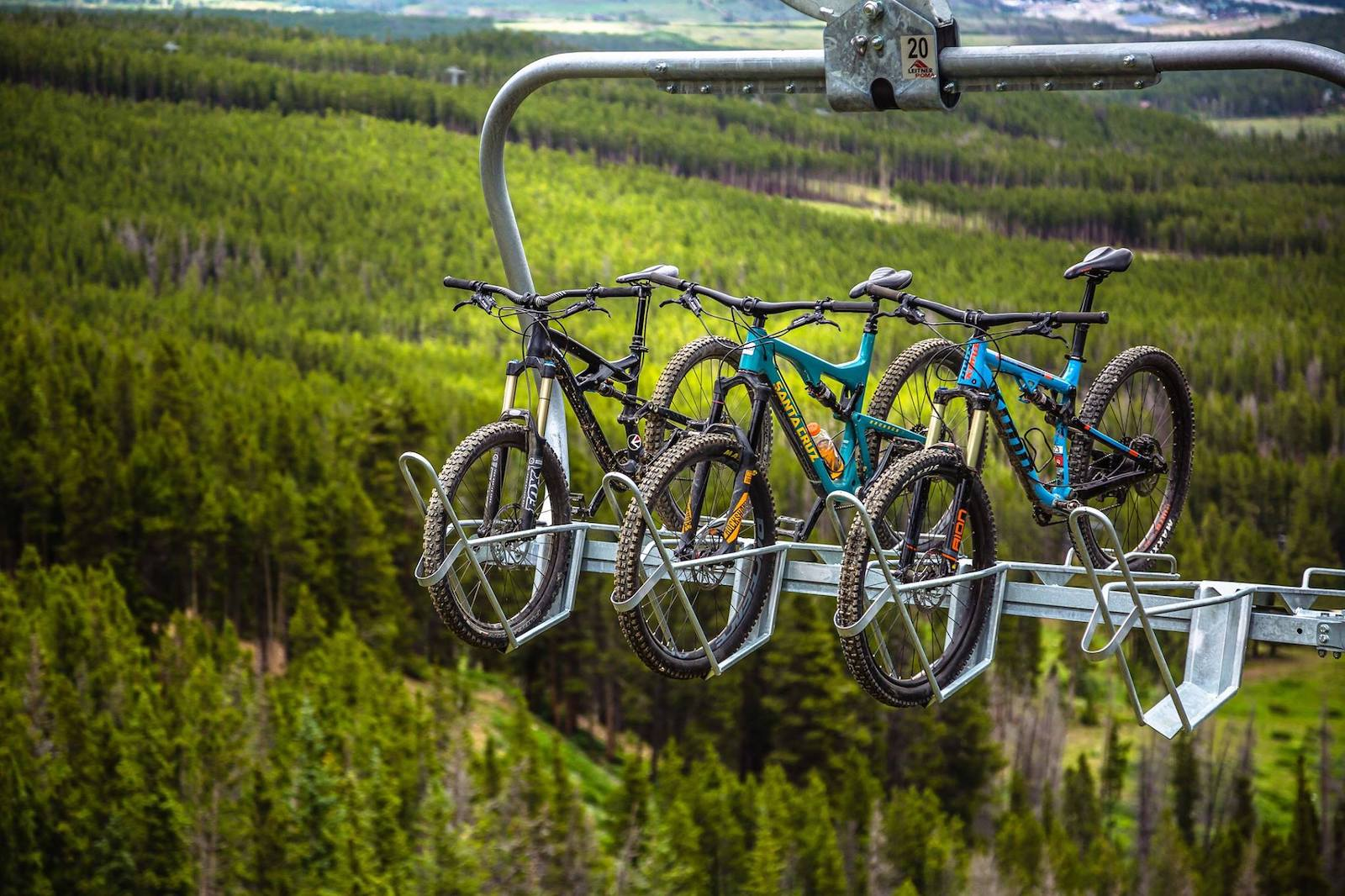 Image of bikes on the SuperChair at Breckenridge Ski Resort in Colorado