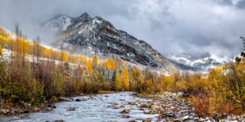 Image of the seasons changing at the Dolores River in Rico, Colorado