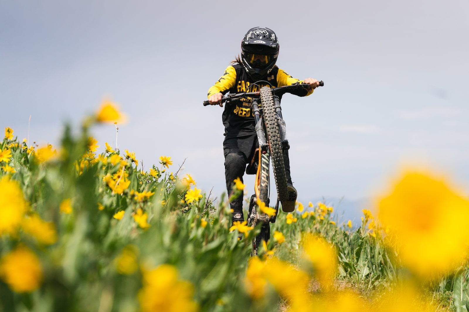Image of a person mountain biking at Granby Ranch Mountain Ski Resort in Colorado