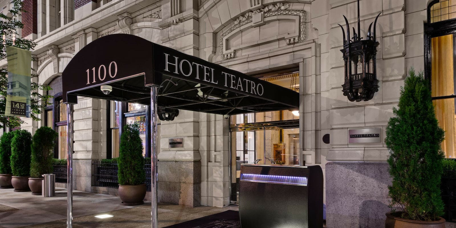 Image of the entrance to Hotel Teatro in Denver, CO
