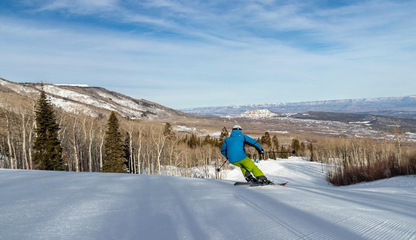 Image of a skier at Powderhorn Resort in Mesa, CO