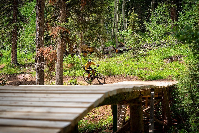 Image of a person mountain biking at Purgatory Bike Park in Colorado