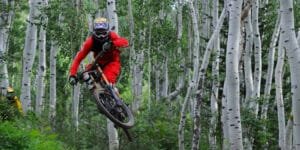 Image of a person mountain biking at Steamboat Bike Park in Colorado