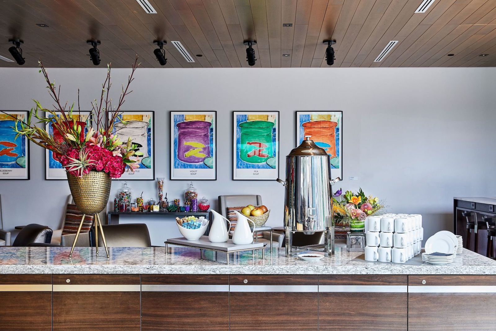 Image of the morning coffee service bar at the Art, a hotel in Denver, CO