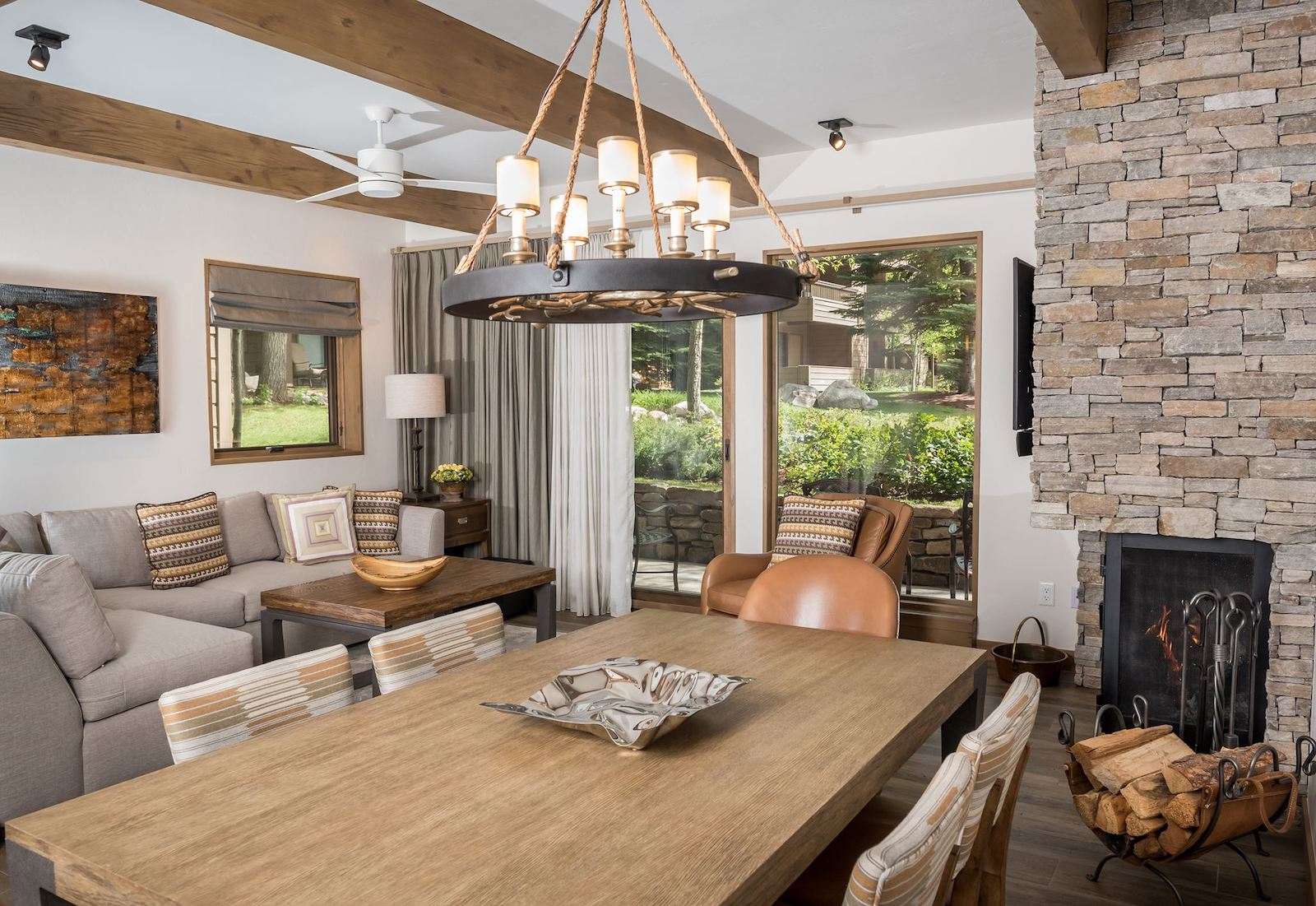 Image of a dining room in one of the suites at The Gant in Aspen, Colorado
