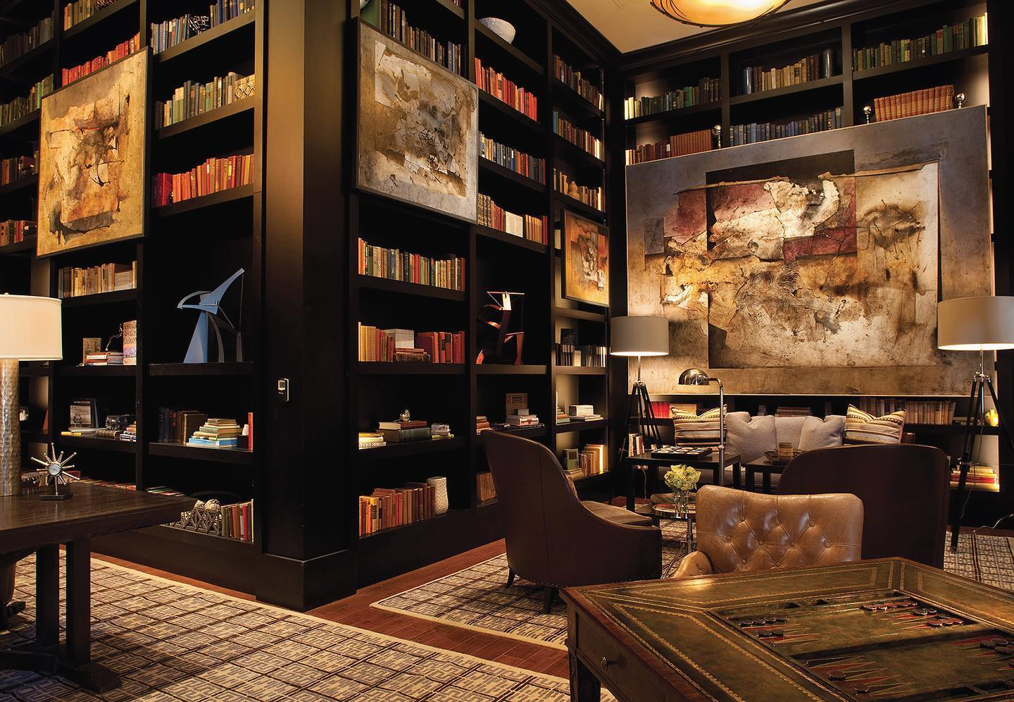 Image of the library at The Sebastian Vail in Colorado